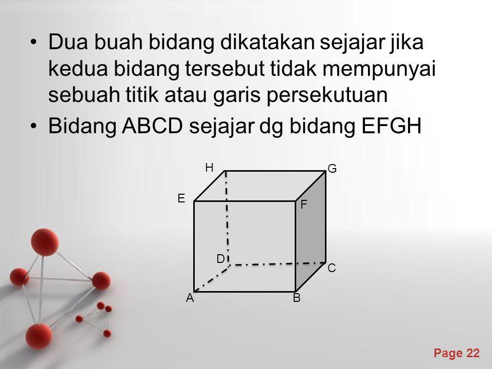 Bidang ABCD sejajar dg bidang EFGH