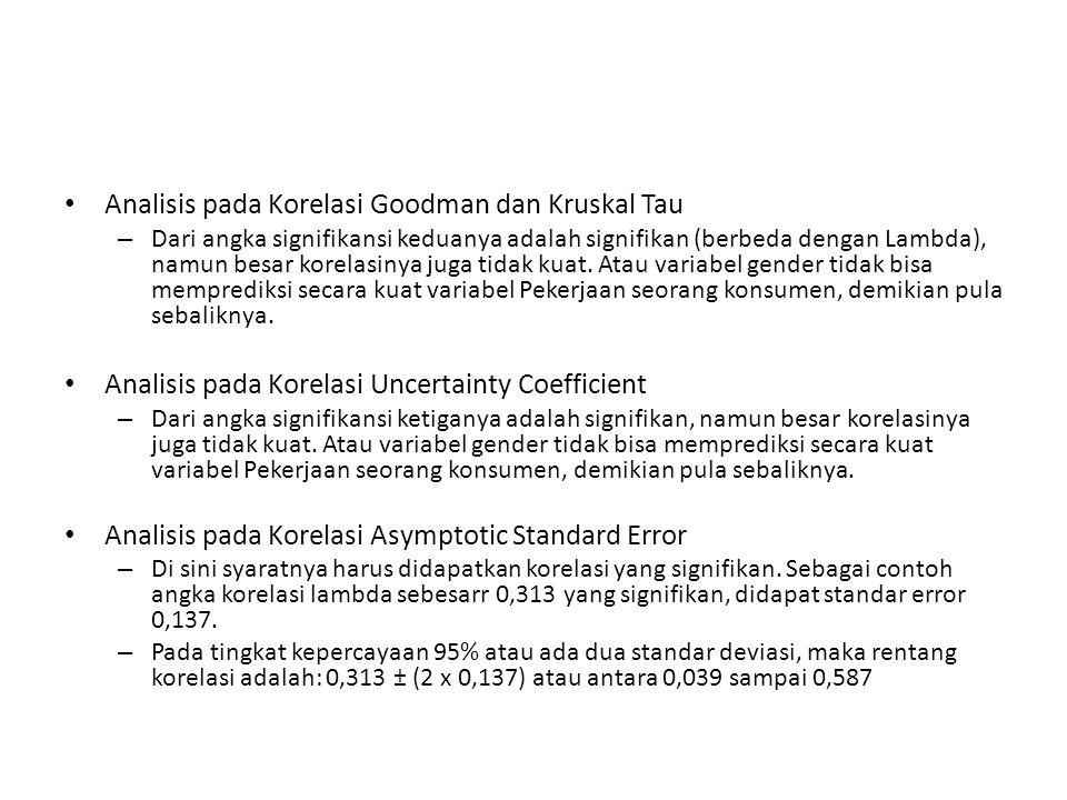 Analisis pada Korelasi Goodman dan Kruskal Tau