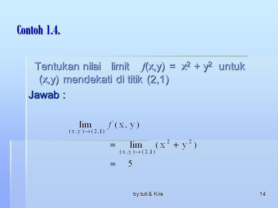 Contoh 1.4. Tentukan nilai limit f(x,y) = x2 + y2 untuk (x,y) mendekati di titik (2,1) Jawab :