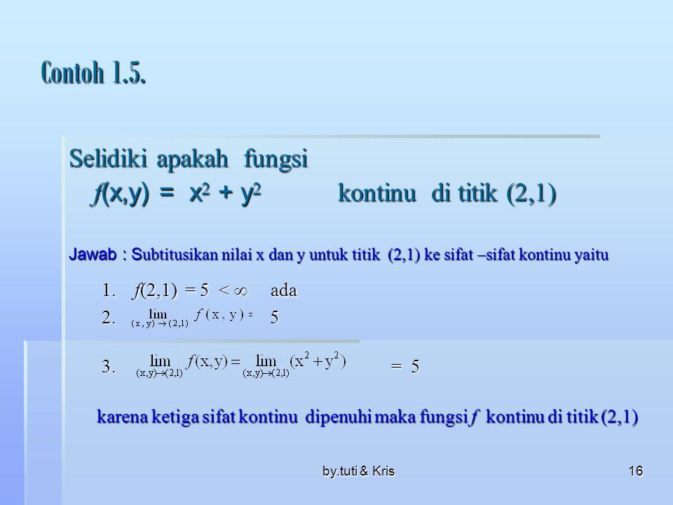 Contoh 1.5. 1. f(2,1) = 5 <  ada Selidiki apakah fungsi