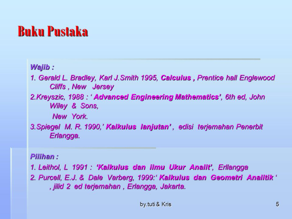 Buku Pustaka Wajib : 1. Gerald L. Bradley, Karl J.Smith 1995, Calculus , Prentice hall Englewood Cliffs , New Jersey.
