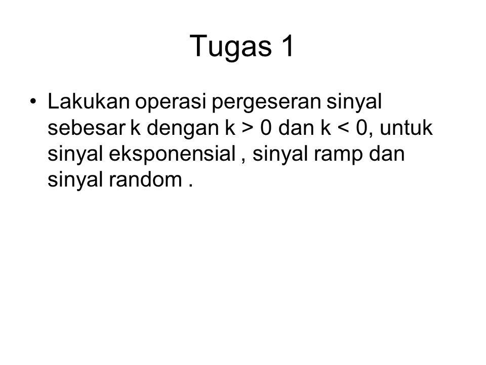 Tugas 1 Lakukan operasi pergeseran sinyal sebesar k dengan k > 0 dan k < 0, untuk sinyal eksponensial , sinyal ramp dan sinyal random .