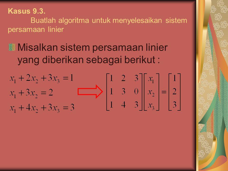 Misalkan sistem persamaan linier yang diberikan sebagai berikut :