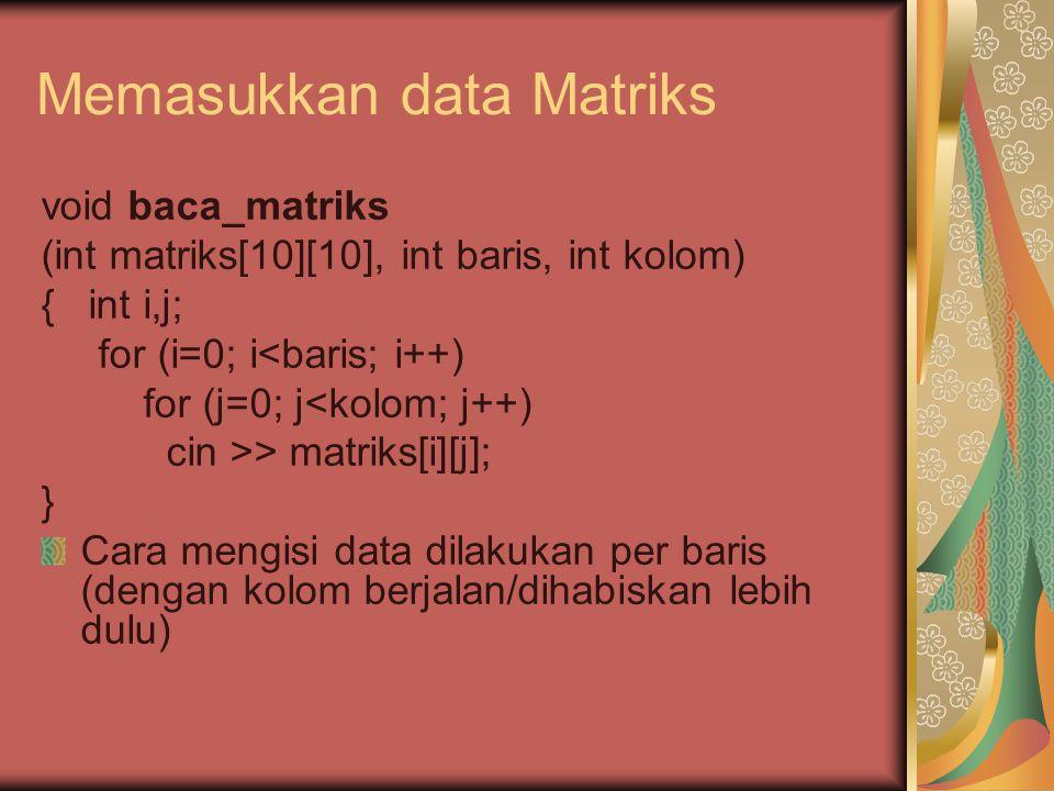 Memasukkan data Matriks