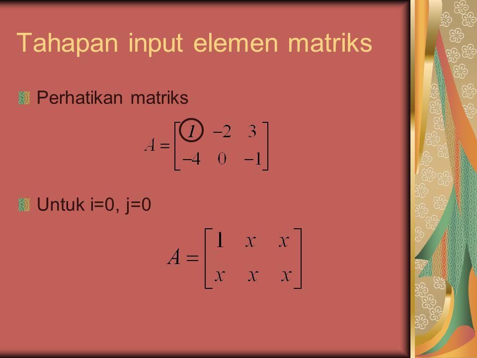 Tahapan input elemen matriks