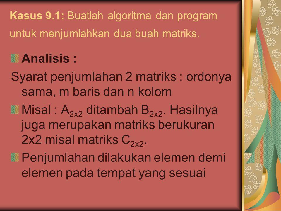 Syarat penjumlahan 2 matriks : ordonya sama, m baris dan n kolom