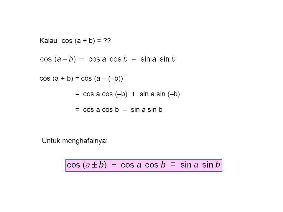 Kalau cos (a + b) = cos (a + b) = cos (a – (–b)) = cos a cos (–b) + sin a sin (–b) = cos a cos b – sin a sin b.