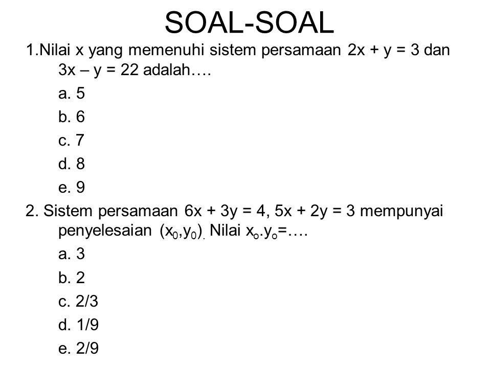 SOAL-SOAL 1.Nilai x yang memenuhi sistem persamaan 2x + y = 3 dan 3x – y = 22 adalah…. a. 5. b. 6.