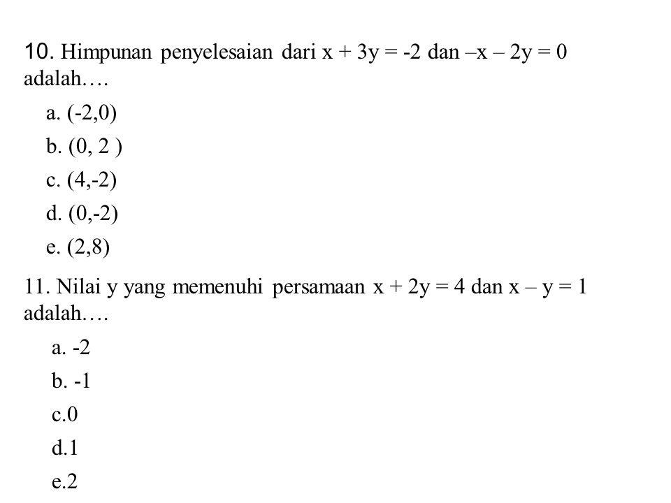 10. Himpunan penyelesaian dari x + 3y = -2 dan –x – 2y = 0 adalah….