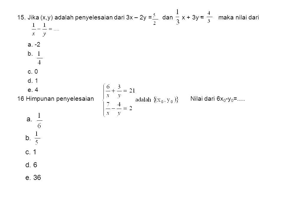 15. Jika (x,y) adalah penyelesaian dari 3x – 2y = dan x + 3y = maka nilai dari