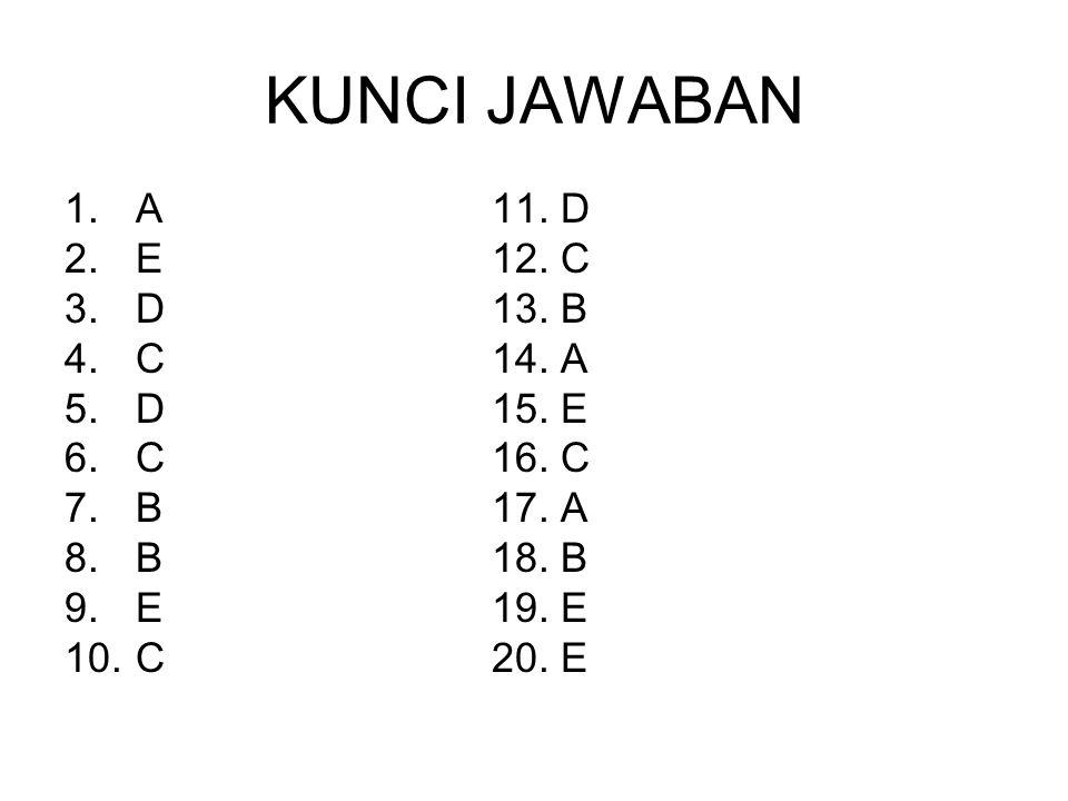 KUNCI JAWABAN A 11. D E 12. C D 13. B C 14. A D 15. E C 16. C B 17. A
