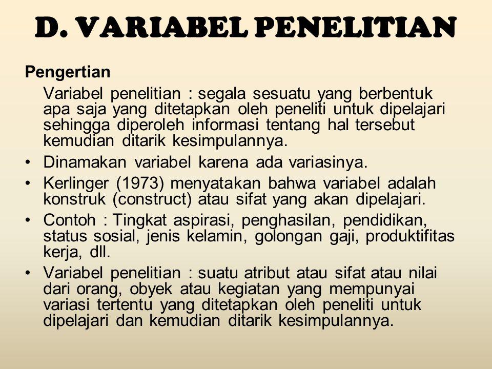 D. VARIABEL PENELITIAN Pengertian