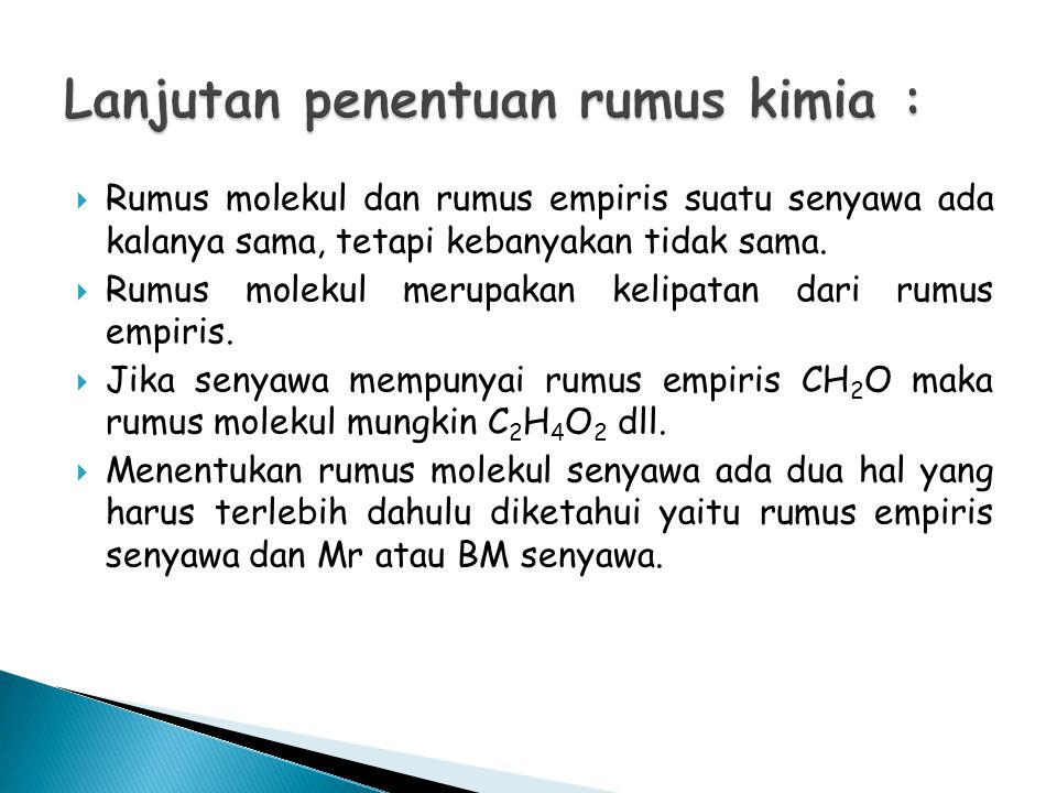 Lanjutan penentuan rumus kimia :