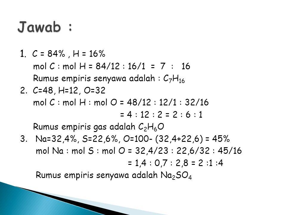 Jawab : 1. C = 84% , H = 16% mol C : mol H = 84/12 : 16/1 = 7 : 16