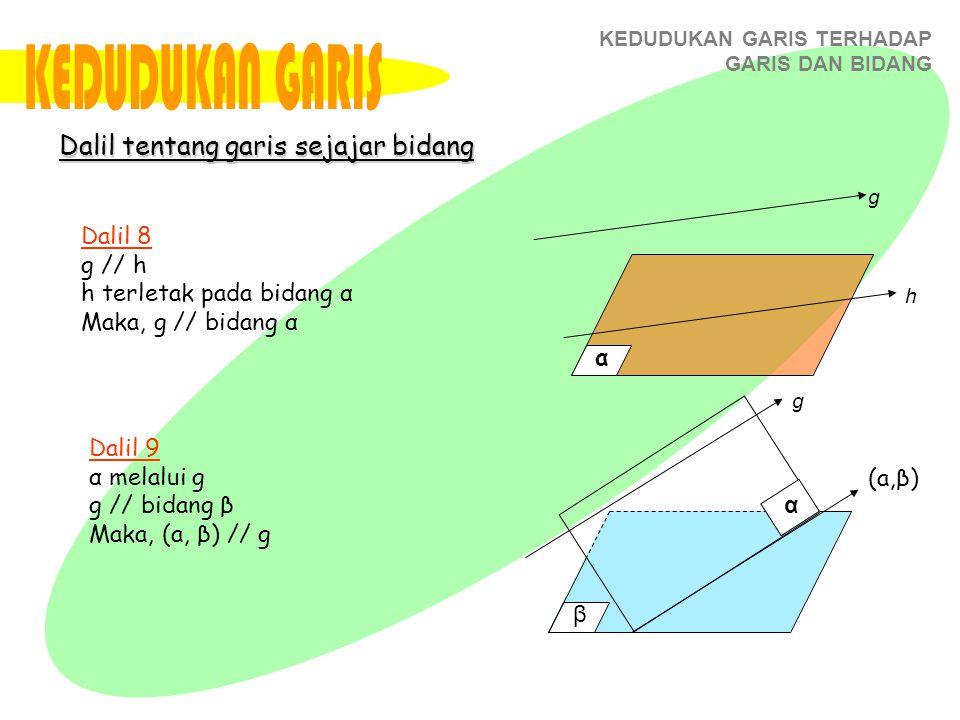KEDUDUKAN GARIS Dalil tentang garis sejajar bidang Dalil 8 g // h