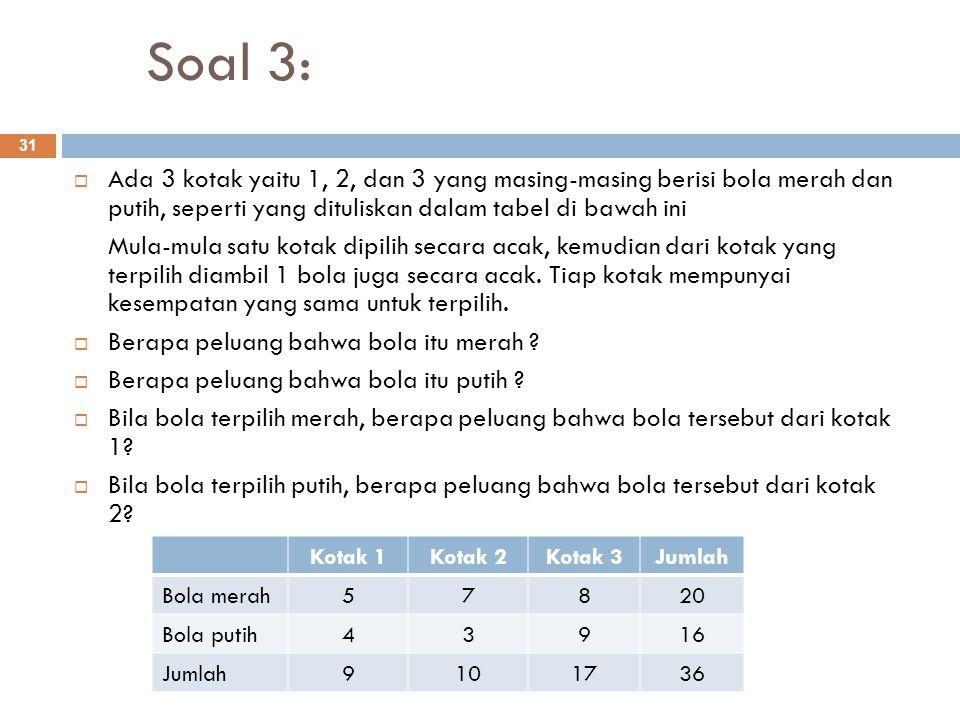 Soal 3: Ada 3 kotak yaitu 1, 2, dan 3 yang masing-masing berisi bola merah dan putih, seperti yang dituliskan dalam tabel di bawah ini.
