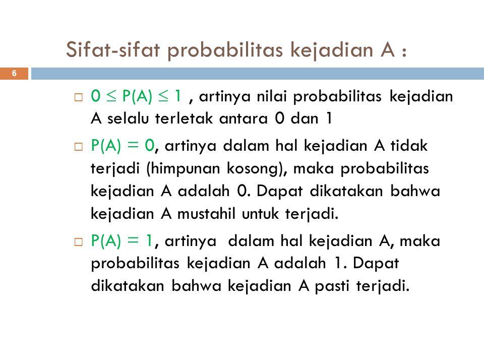 Sifat-sifat probabilitas kejadian A :