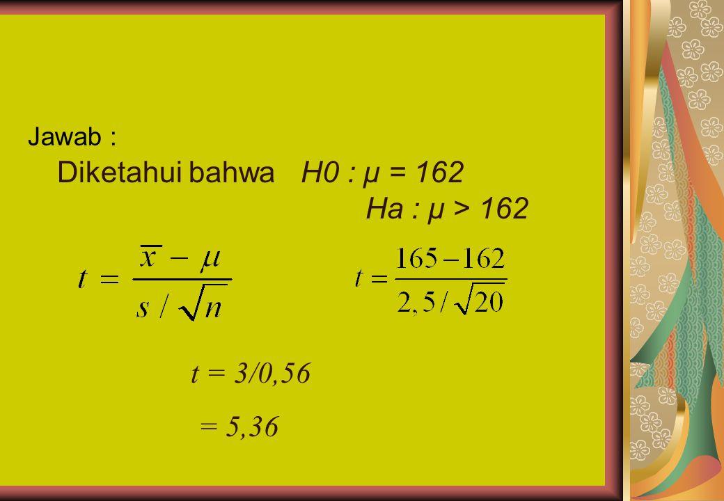 Jawab : Diketahui bahwa H0 : μ = 162 Ha : μ > 162 t = 3/0,56 = 5,36