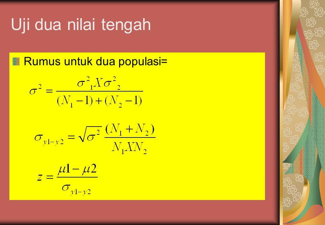Uji dua nilai tengah Rumus untuk dua populasi=