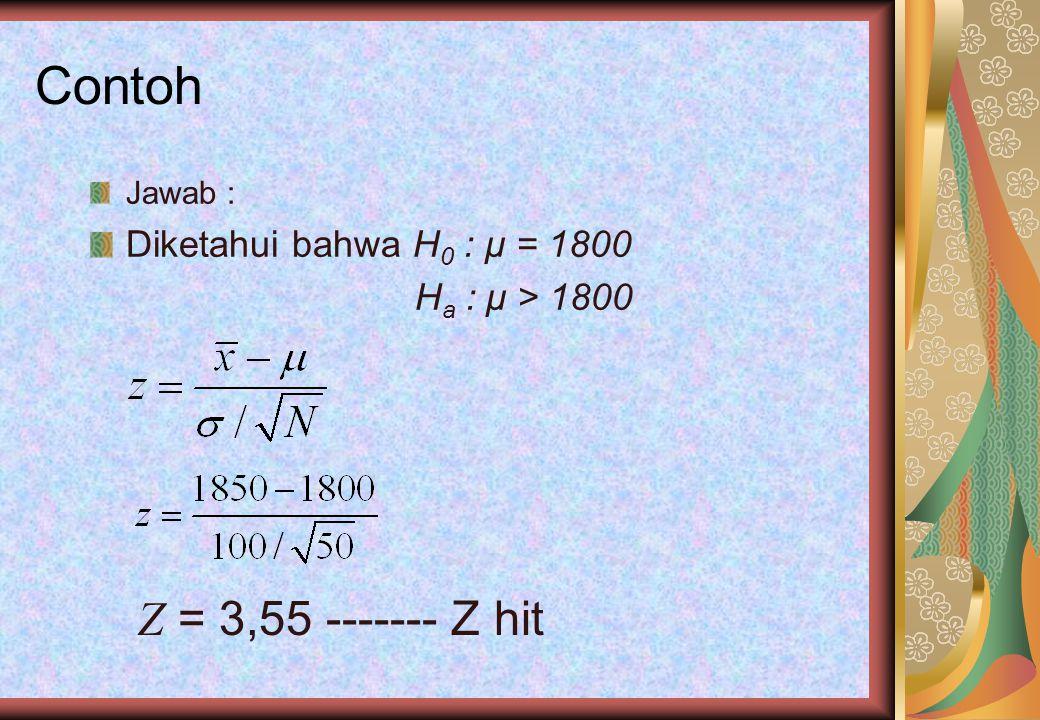 Contoh Z = 3,55 ------- Z hit Diketahui bahwa H0 : μ = 1800 Jawab :