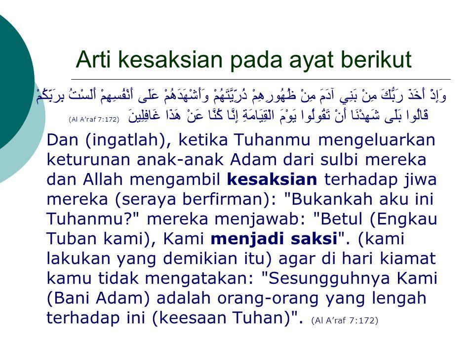 Arti kesaksian pada ayat berikut