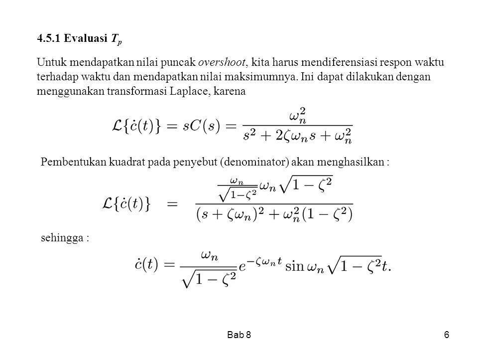 Pembentukan kuadrat pada penyebut (denominator) akan menghasilkan :