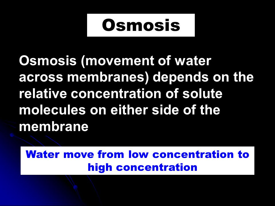 Water move from low concentration to high concentration
