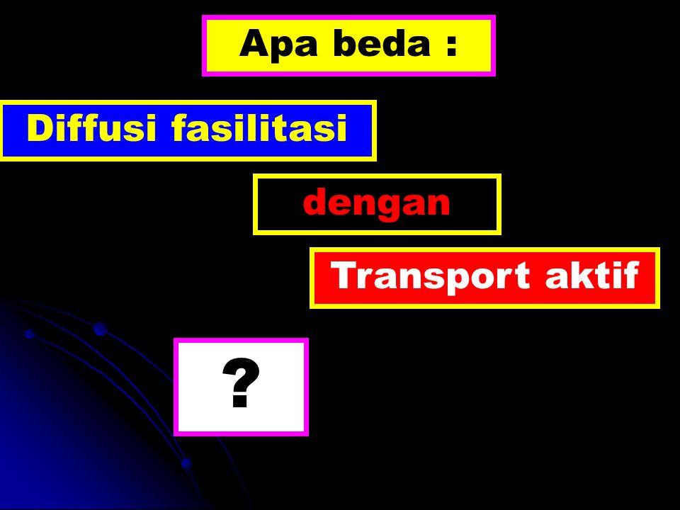 Apa beda : Diffusi fasilitasi dengan Transport aktif