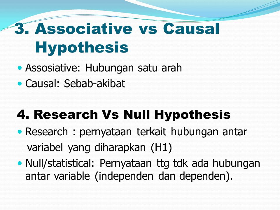3. Associative vs Causal Hypothesis