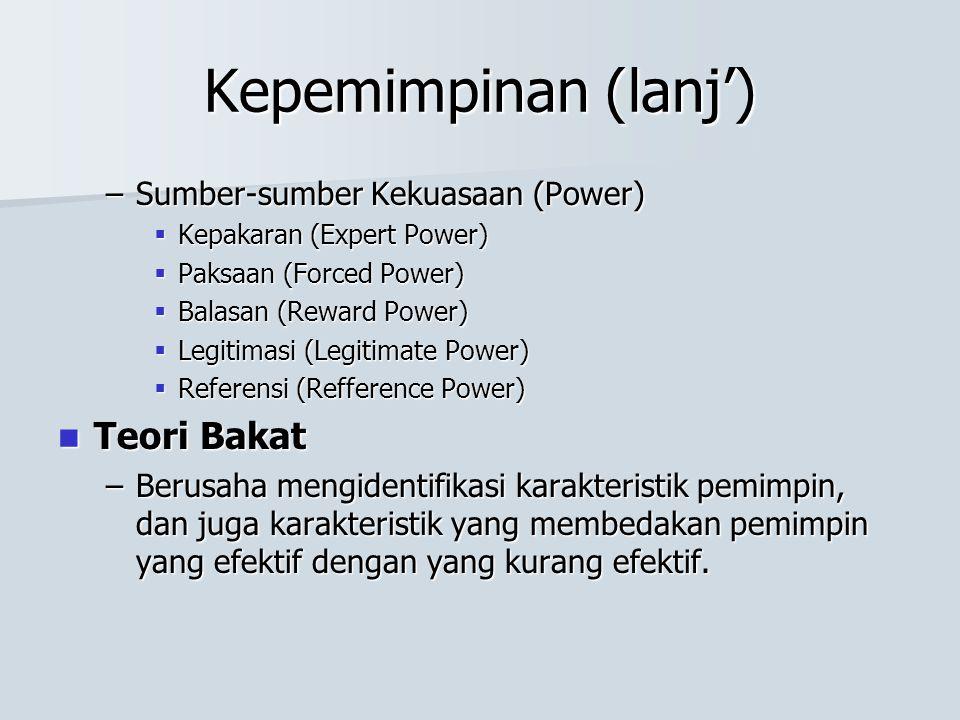 Kepemimpinan (lanj') Teori Bakat Sumber-sumber Kekuasaan (Power)
