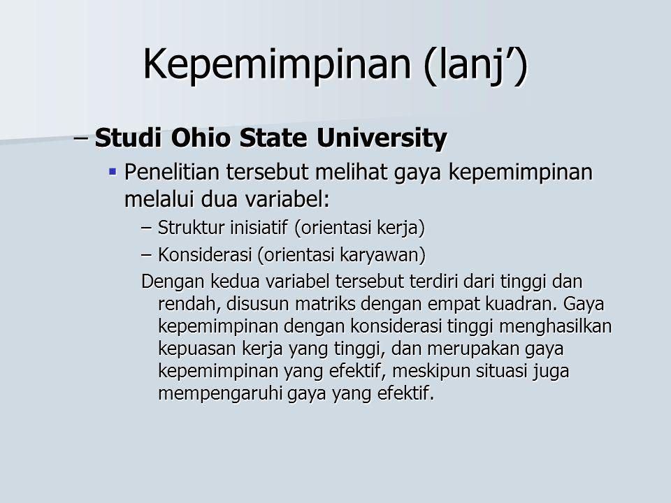 Kepemimpinan (lanj') Studi Ohio State University
