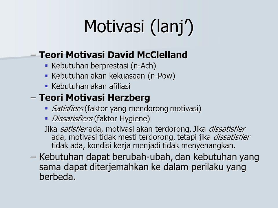Motivasi (lanj') Teori Motivasi David McClelland