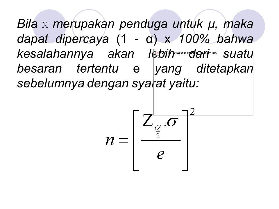 Bila merupakan penduga untuk µ, maka dapat dipercaya (1 - α) x 100% bahwa kesalahannya akan lebih dari suatu besaran tertentu e yang ditetapkan sebelumnya dengan syarat yaitu: