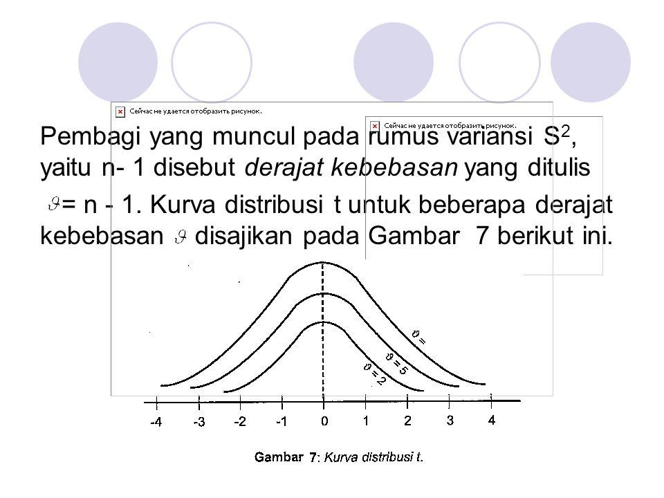 Pembagi yang muncul pada rumus variansi S2, yaitu n- 1 disebut derajat kebebasan yang ditulis