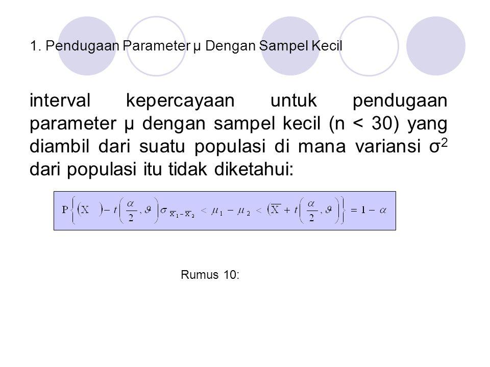1. Pendugaan Parameter µ Dengan Sampel Kecil