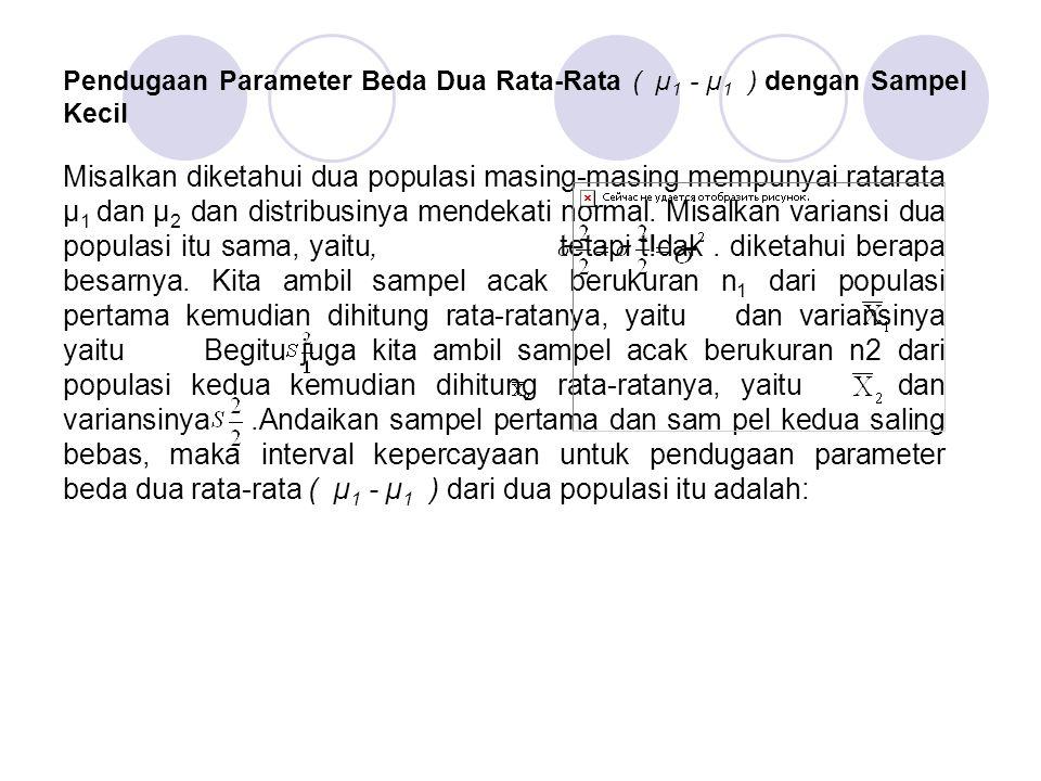 Pendugaan Parameter Beda Dua Rata-Rata ( µ1 - µ1 ) dengan Sampel Kecil