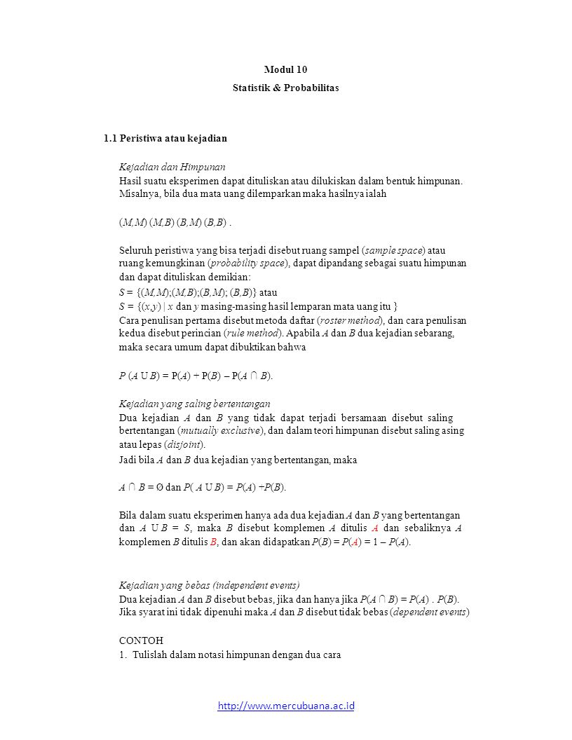 http://www.mercubuana.ac.id Modul 10 Statistik & Probabilitas