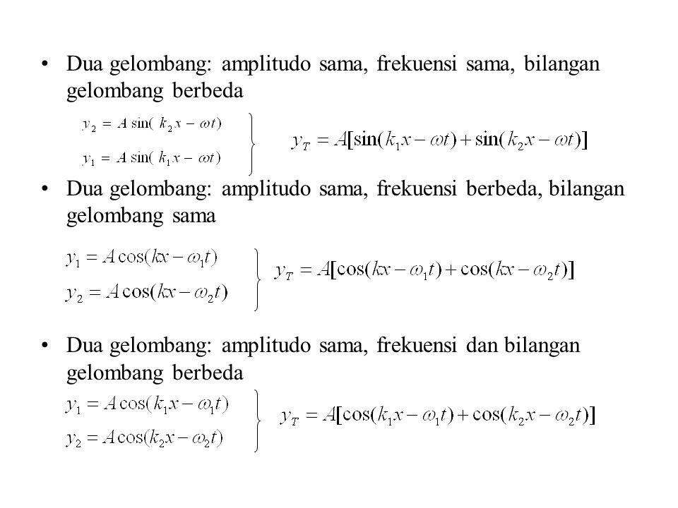 Dua gelombang: amplitudo sama, frekuensi sama, bilangan gelombang berbeda