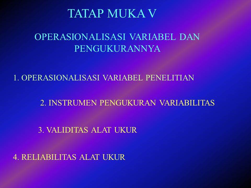OPERASIONALISASI VARIABEL DAN PENGUKURANNYA