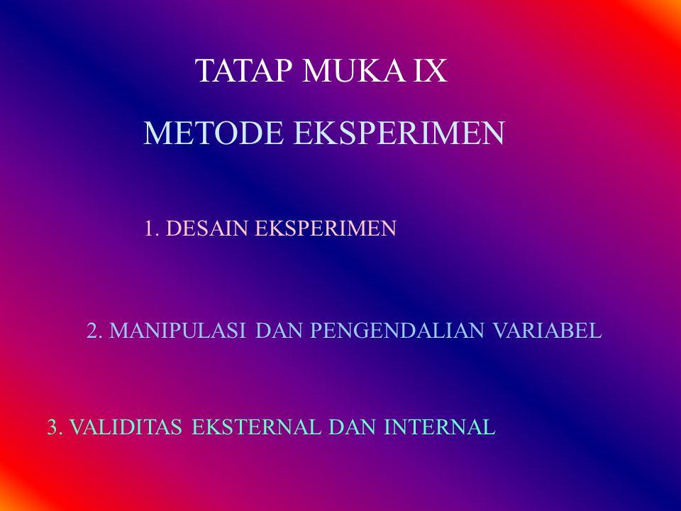 TATAP MUKA IX METODE EKSPERIMEN 1. DESAIN EKSPERIMEN