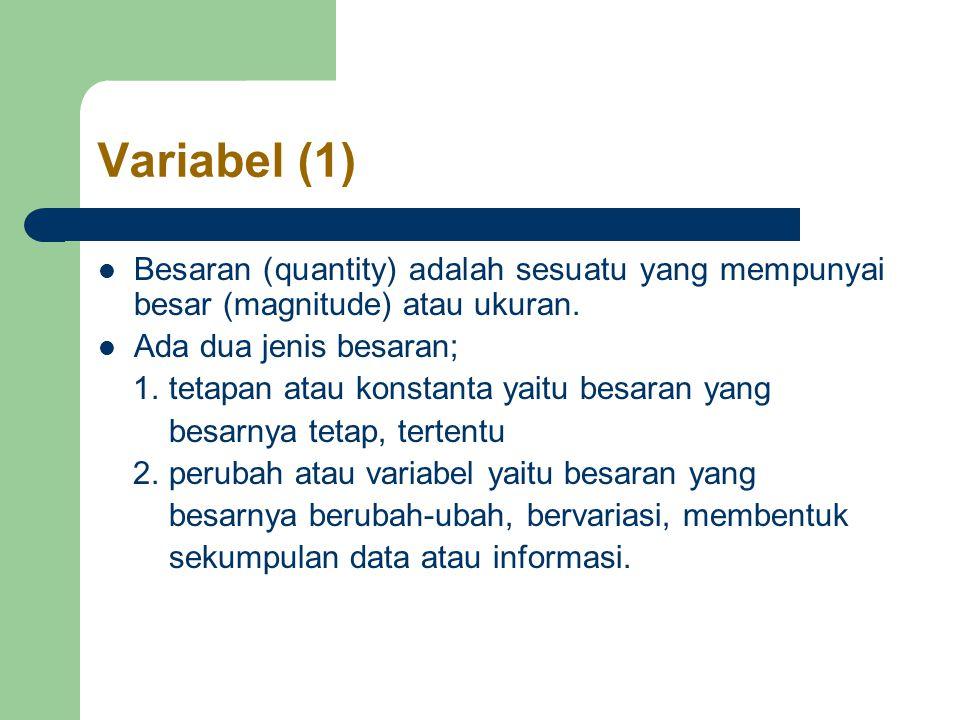 Variabel (1) Besaran (quantity) adalah sesuatu yang mempunyai besar (magnitude) atau ukuran. Ada dua jenis besaran;