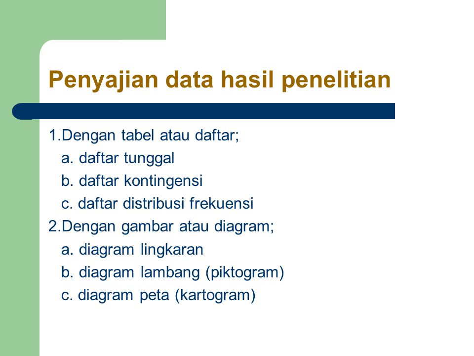 Penyajian data hasil penelitian
