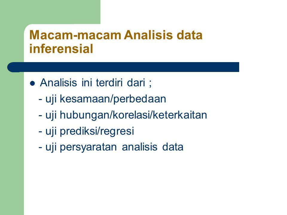 Macam-macam Analisis data inferensial