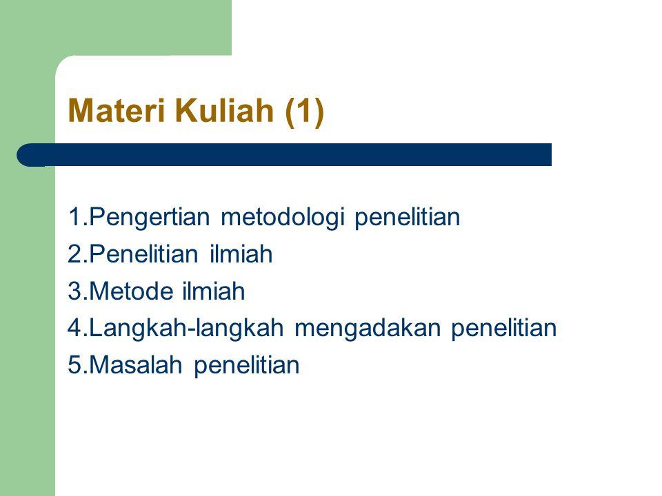 Materi Kuliah (1) 1.Pengertian metodologi penelitian