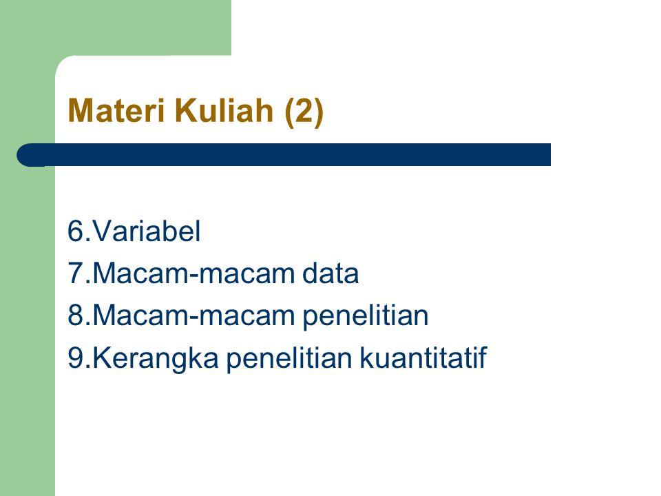 Materi Kuliah (2) 6.Variabel 7.Macam-macam data