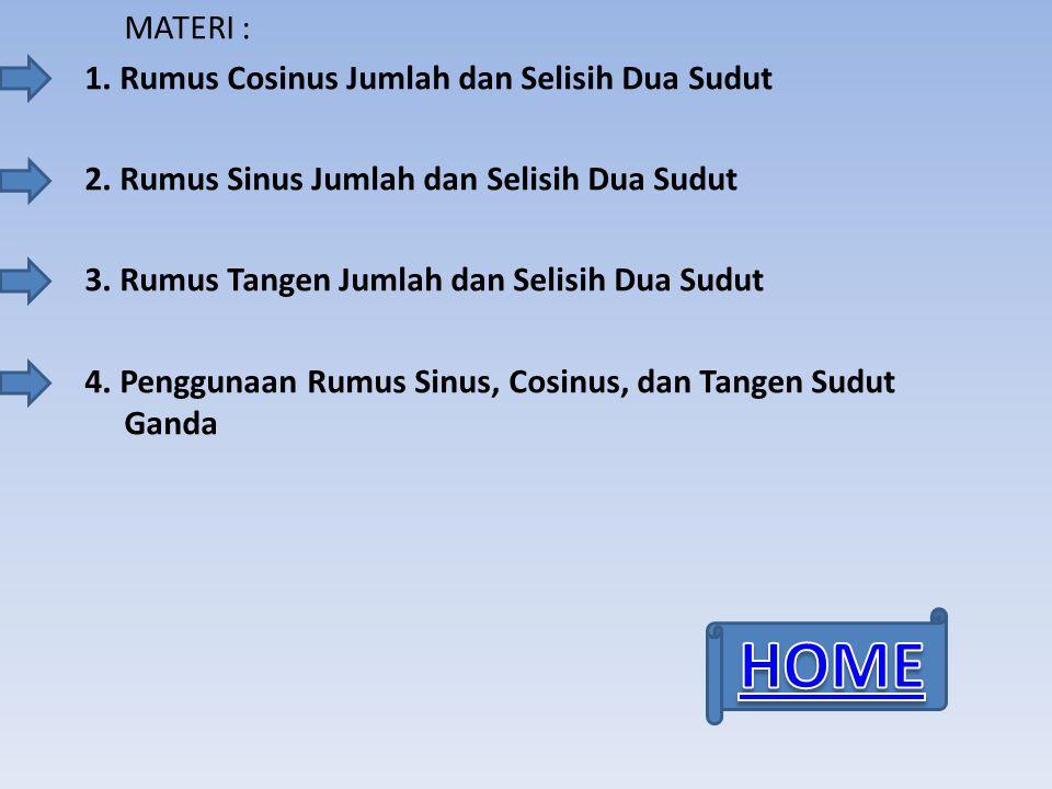 HOME MATERI : 1. Rumus Cosinus Jumlah dan Selisih Dua Sudut