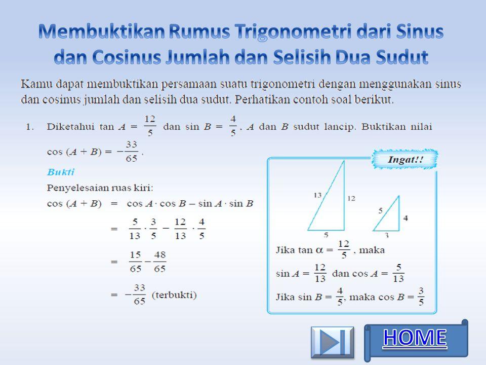Membuktikan Rumus Trigonometri dari Sinus dan Cosinus Jumlah dan Selisih Dua Sudut