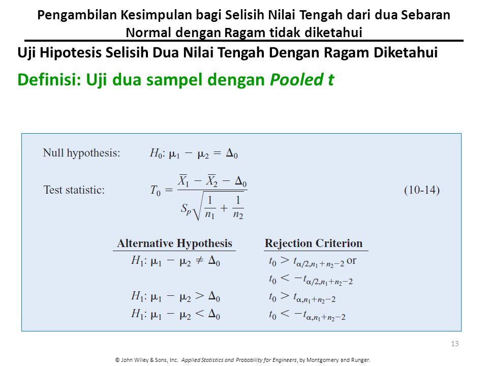 Definisi: Uji dua sampel dengan Pooled t