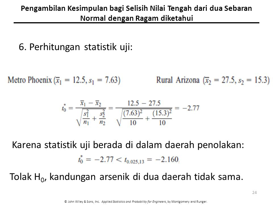 6. Perhitungan statistik uji: