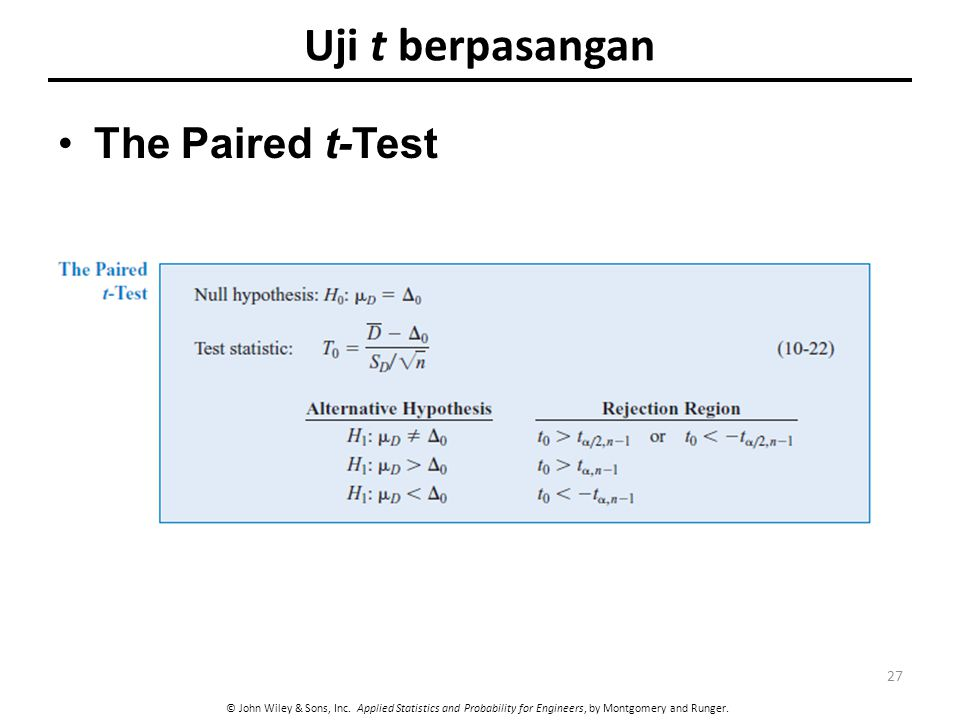 Uji t berpasangan The Paired t-Test